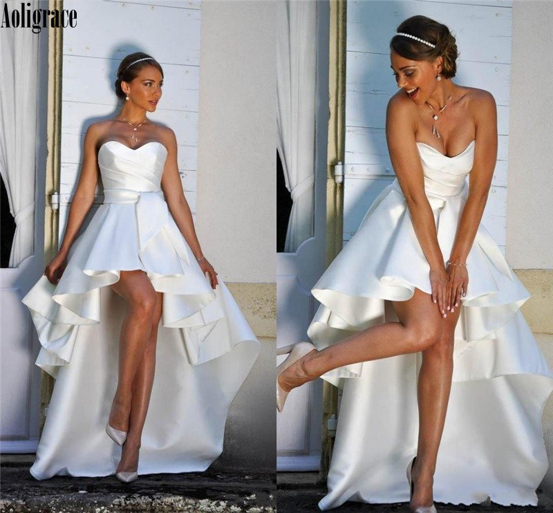 Aoligrace Wedding Dress For Bride Satin Sleeveless Ruffles High Low Sweetheart Beach Bridal Gown Boho Vestido De Novia Custom