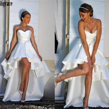 Robe-De-Marie Wedding-Dresses Beach-Gowns Bride High-Low Satin Sweetheart Boho Ruffles