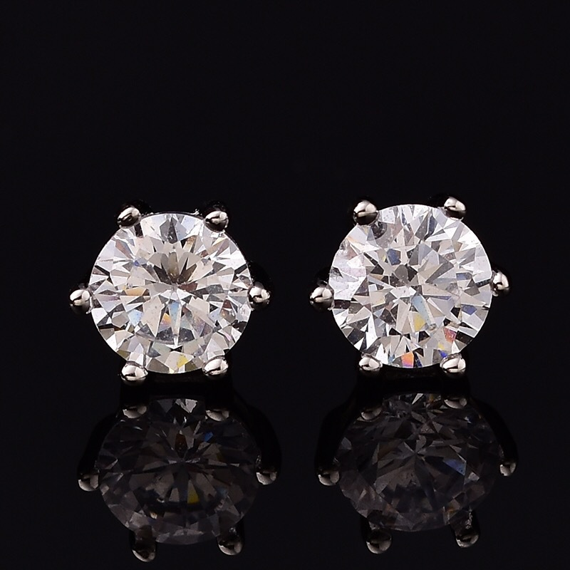 Couple's Moissanite Stud Earrings D Color VVS Cleanliness Six Claw Prong Setting S925 Sterling Silver Earring Women Jewelry