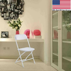 Comfortable Plastic 5 Commercial Folding Chairs Stackable Wedding Party White US