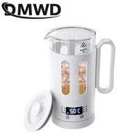 Dmwd mini chaleira elétrica saúde preservando pote de vidro aquecimento água quente caldeira copo bule garrafa sopa ensopado fogão lento aquecedor da ue