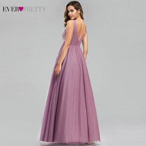 Image 3 - Sempre bonito tule vestidos de dama de honra das mulheres com decote em v apliques elegantes vestidos longos para festa de casamento ep00930 vestidos de madrinha