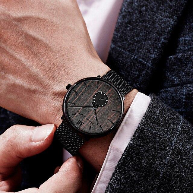 мужские водонепроницаемые часы с сетчатым ремешком из нержавеющей фотография