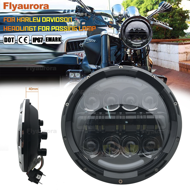 Motorcycle 7 Inch Headlight For Honda Cb400 Honda Cb750 7Inch Round DRL Turn Signal Halo LED Headlamp