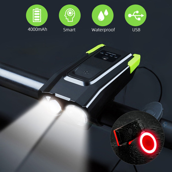 2000mAh 4000mAh Bicycle Light With Horn USB Rechargeable 800 Lumens LED Light For Bike Cycling Front Lamp