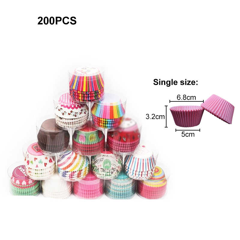 200x Cupcake Wrappers Bake Cake Paper Baking Muffin Trays Wedding Party Decor