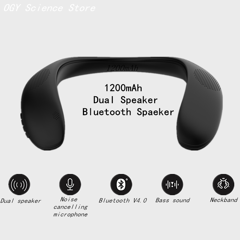 Neckband-Speaker Sd-Card Bluetooth Outdoor Wireless Bass-Sound AUX Process V4.0 High-Quarlity