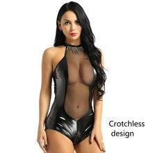 Erótico Sexy Crotchless traje de látex neto lencería con los pechos expuestos transparente ver a través de Catsuit de la entrepierna abierta vestido