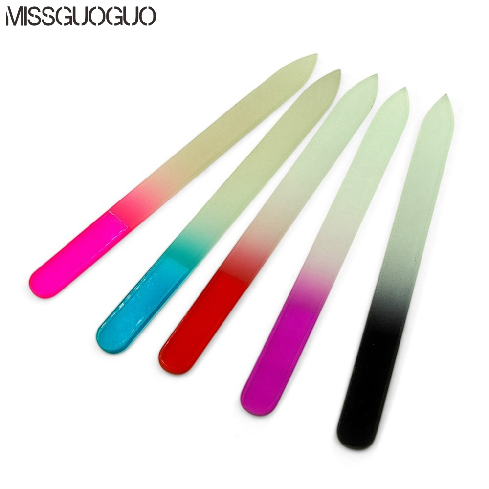 5 Colors For Choice Crystal Glass Nail File Professional Manicure Device Tool Durable Nail Art Buffer Files