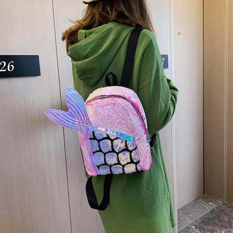1-Милый мультфильм блёстки рюкзак рыбий хвост Женская сумка Kawaii девушки школьный ранец на молнии путешествия большой емкости сумки на плечо ... смотреть на Алиэкспресс Иркутск в рублях