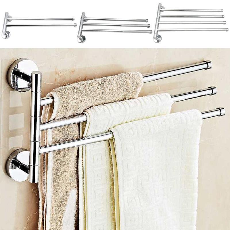 Stainless Steel Towel Bar Rotating Towel Rack Hanger Bathroom Wall Mounted Towel Holder Organizer Bathroom Kitchen Storage Rack