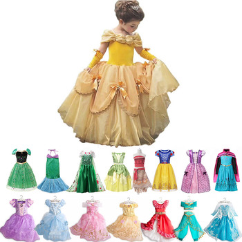 Fancy Baby Girl Princess Clothes Kid Sleeping Beauty Belle Mermaid Cosplay Costume Child Elsa Anna Elena Sofia Party Dress
