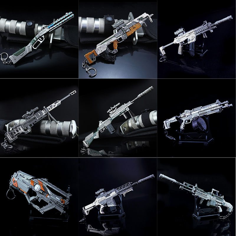 Anime <font><b>Apex</b></font> Legends Game Evil Spirit Keychains EVA-8 G7 VK47 R99 Metal Gun Model Military Collection <font><b>Toys</b></font> For Children Gifts image