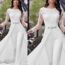 Women Sexy Solid Jumpsuit Fashion Elegant Long Sleeve Lace O-Neck Romper Combinaison Pantalon Femme 2019 New Autumn Hot Sale YE