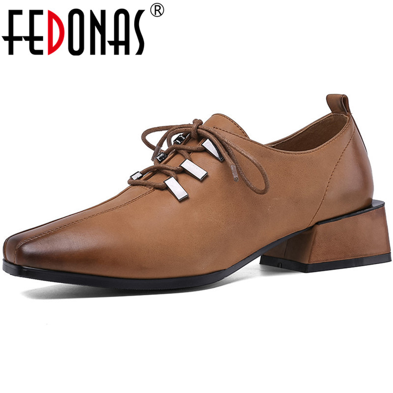 FEDONAS Top Quality New Women Shoes Metal Decoration Shoes Thicks Heeled Cross-Tied Shoes Genuine Leather Fashion Shoes Woman