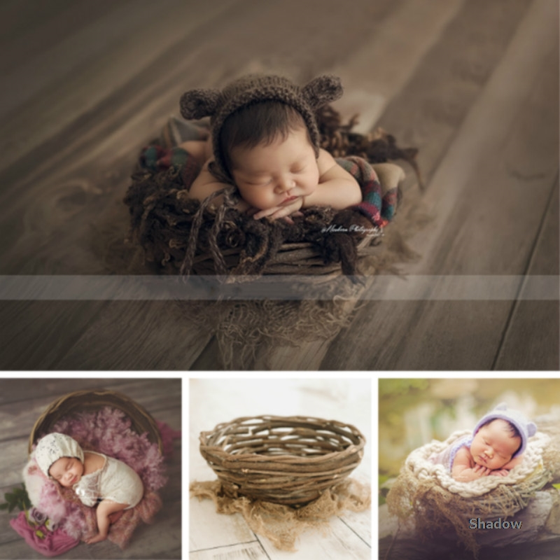 Newborn Photography Props Natural Rattan Baby Posing Container Infantil Photo Shoot Accessories Baby Photo Basket Wicker Basket