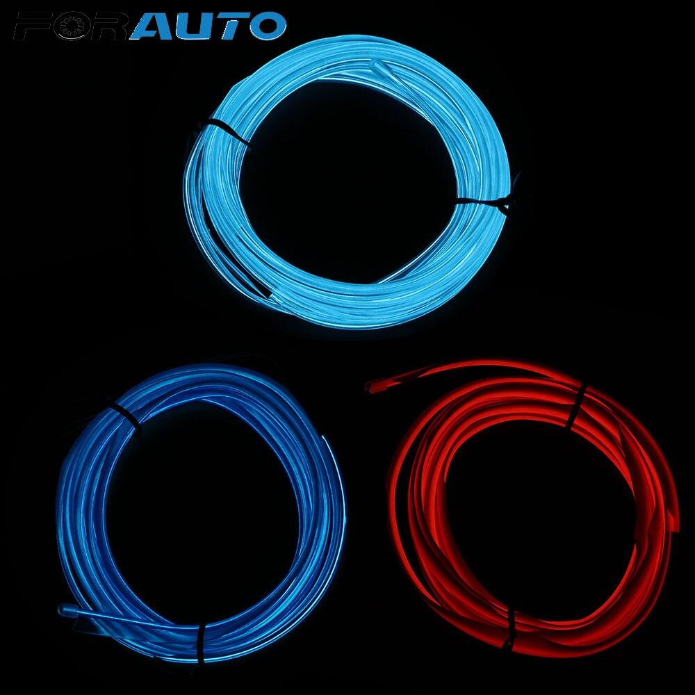 FORAUTO 2m tiras de luces de alambre para EL coche Lámpara decorativa 12V LED coche con luces frías estilo Auto lámparas decoración Interior neón Flexible