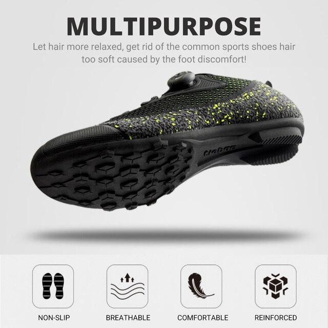 Exclusivo! Tiebao homens malha superior respirável sapatos de bicicleta de estrada não-bloqueio de borracha solas triathlon mtb sapatos de ciclismo unisex 4