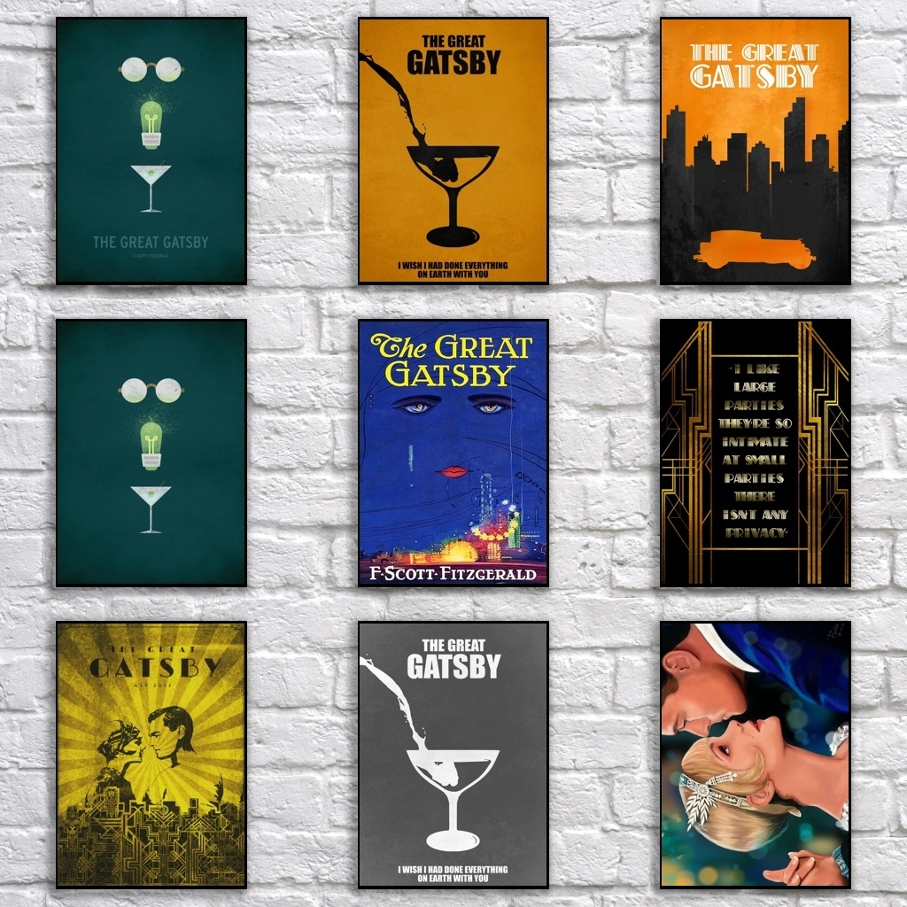 Vintage The Great Gatsby Poster Retro Whitepaper Movie Poster Art Painting Funny Fancy Wall Sticker For Coffee House Bar