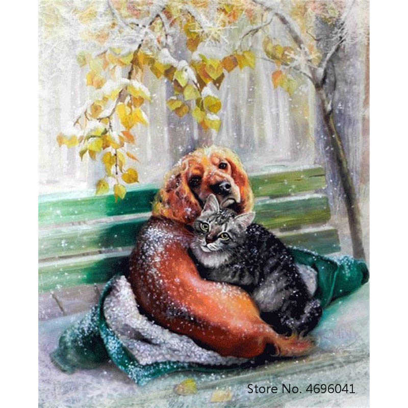 Painting By Numbers Frameworks Coloring By Numbers Home Decor Pictures Animal Dog Decorations RSB8340