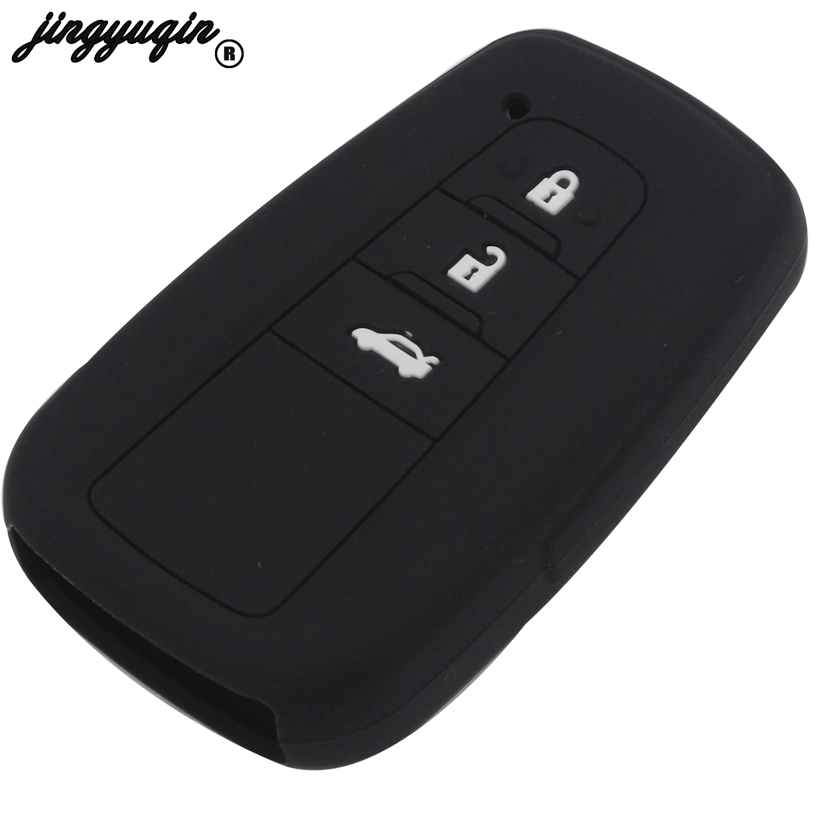 Jingyuqin – coque de protection pour clé de voiture, 3 boutons, en Silicone, avec support pour télécommande, pour Toyota Camry 2017 2018, CHR Prius Corolla RAV4