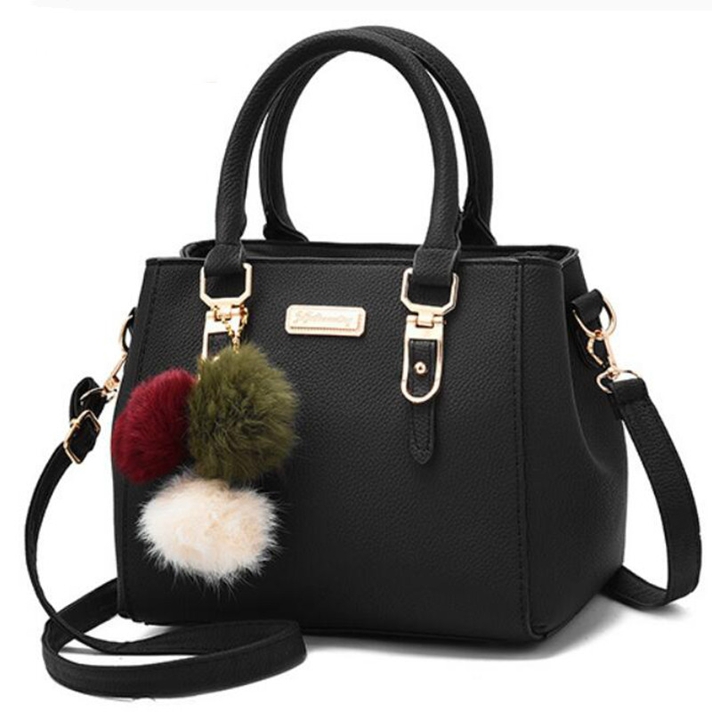 Women Bags Messenger-Bag Hairball-Shoulder-Bag Vintage Leather Female Ladies title=