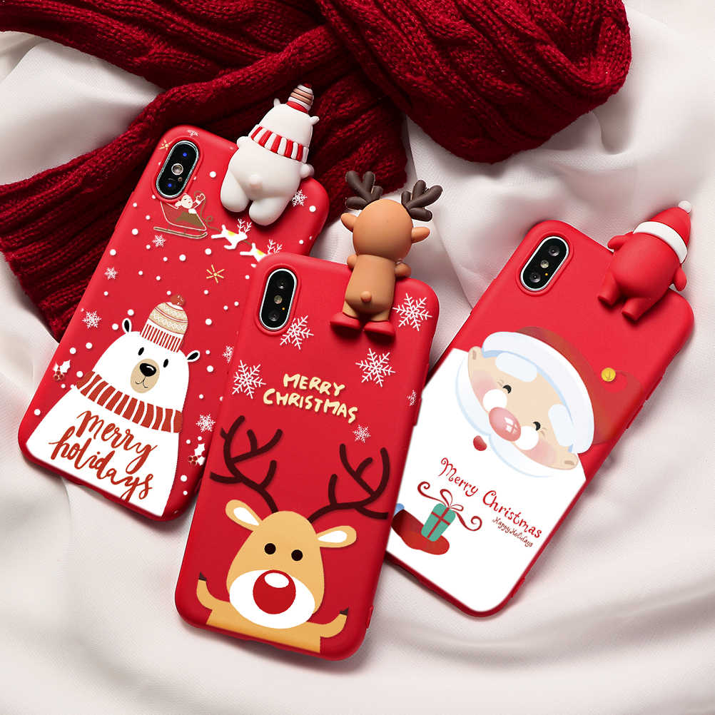 Natal Kartun Rusa Case untuk iPhone XR 11 Pro XS Max X 5 5S Silicone Matte Cover untuk iPhone 7 8 6 S 6 S Plus 7Plus Case Bear