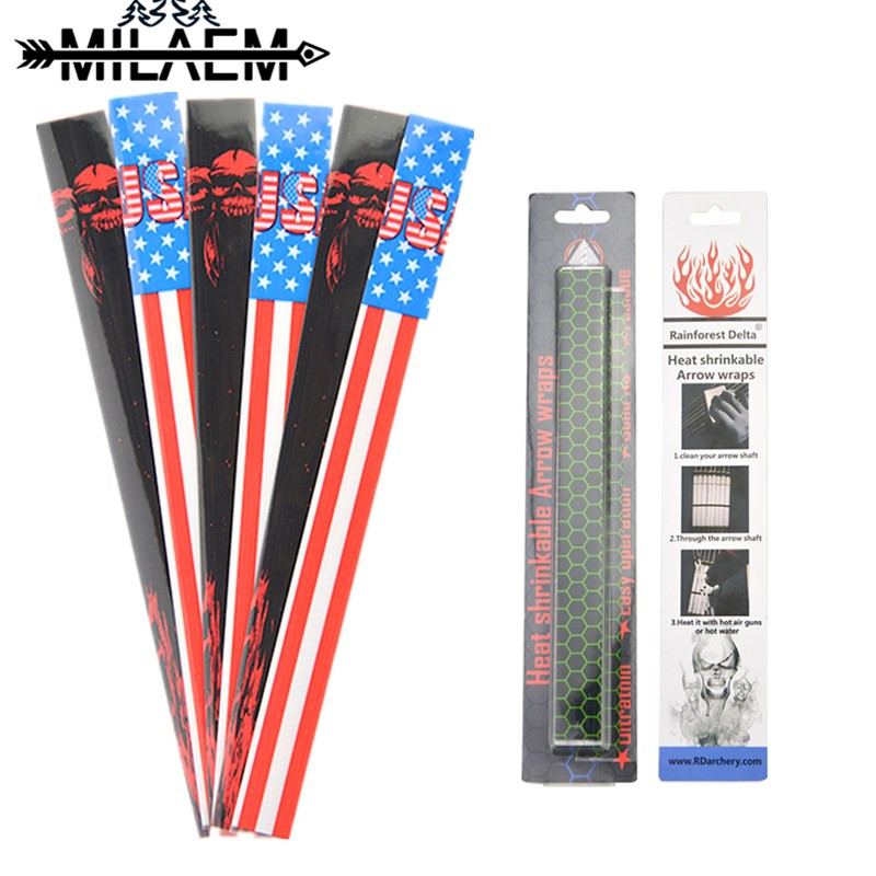 15pcs Archery Arrow Wraps Heat Shrinkable Sticker DIY Shaft Decoration Tool