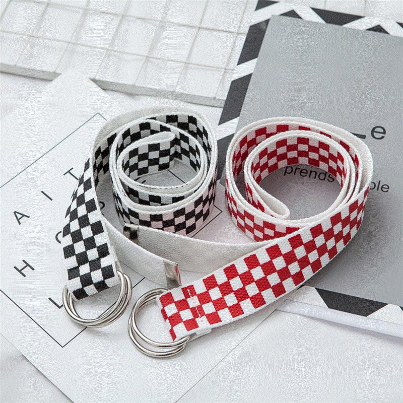 Jeans Belts Checkerboard Harajuku Punk-Strap Double-D-Ring Nylon Female Black White Women