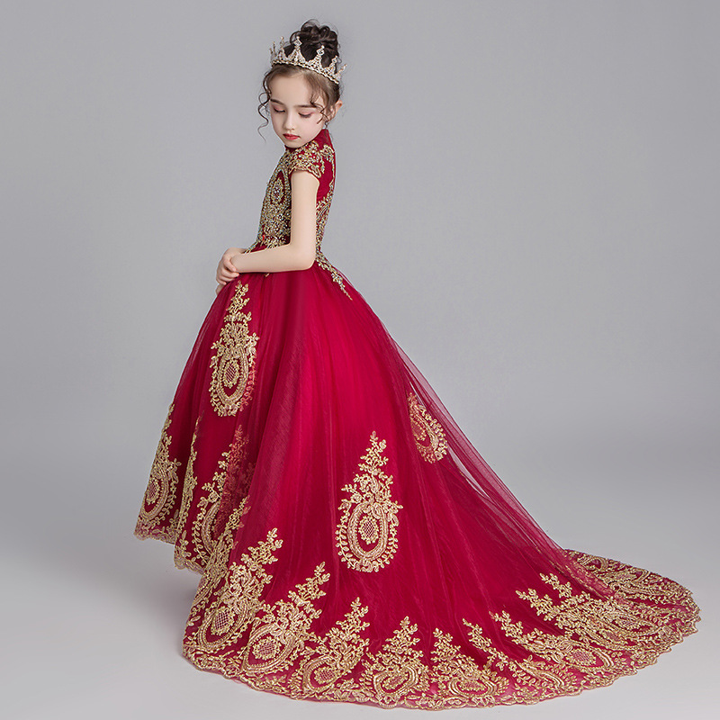 Red Princess Dress Girls Puffy Host Costume Little Girl Model Catwalks Western Style CHILDREN'S Dress Tailing