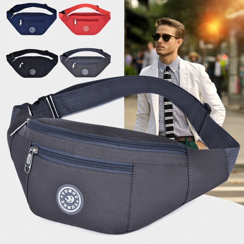 Men's Women's Universal Sports Waist Bag Oxford Cloth Fanny Pack Solid Waterproof Running Fitness Belt Bag
