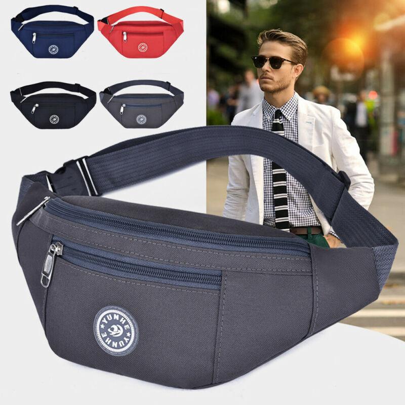 Men's Women's Universal Sports Waist Bag Oxford Cloth Fanny Pack Solid Waterproof Running Fitness Belt Bag