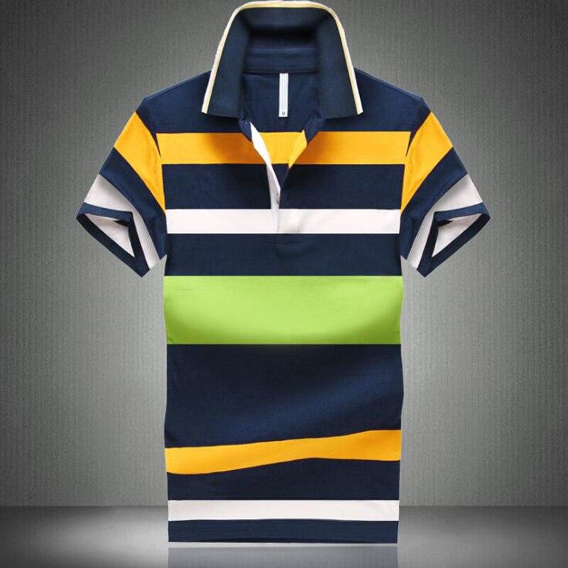 2019 Summer Men's   Polo   Shirt Short Sleeve Cotton   Polo   Shirt Men's Lapel Buckle Stitching Color Stripe Slim Shirt Sleeve M-4XL