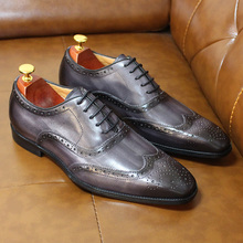 Dress-Shoes Wingtip Brogue Male Genuine-Calf Big-Size Mens Luxury for Comfortable 6-13