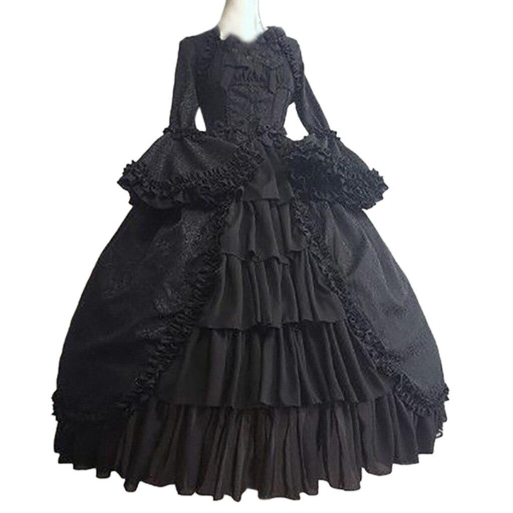 €11.43 38% СКИДКА|Модное женское платье на Хэллоуин, винтажное готическое платье с квадратным воротником и бантом в стиле пэчворк, vestido, женский костюм, платье|Платья| |  - AliExpress