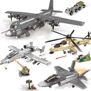 646-1713 шт WW2 военные серии F-35 AC130 A10 Fighter WZ10 Вертолеты Самолеты строительные блоки с фигурами техника кирпичные игрушки