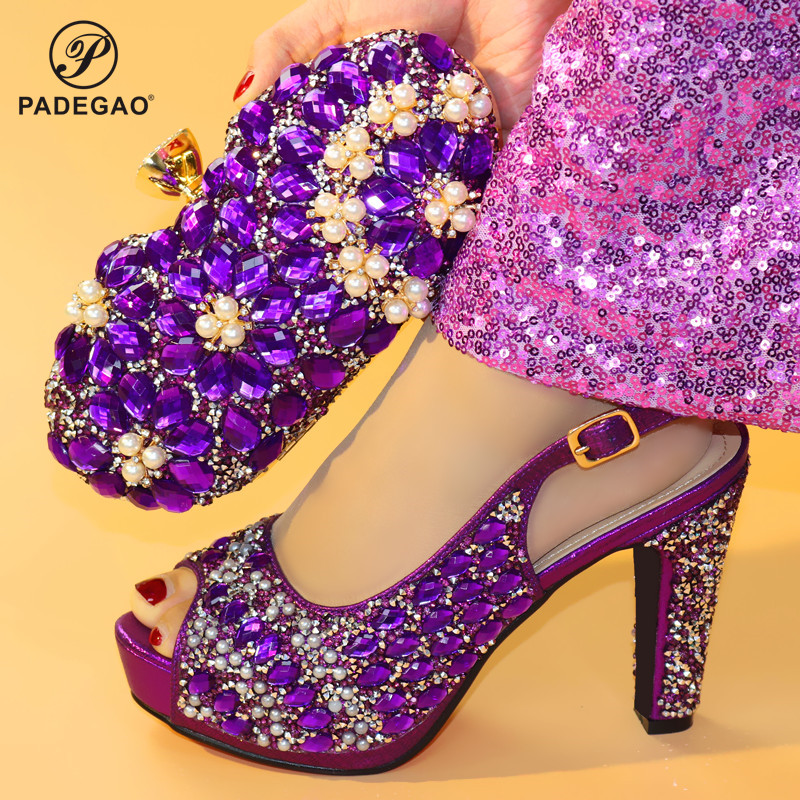 Elegant 2020 Special Design Women Shoes and Bag to Match African Style Italian Ladies Party Shoes Matching Bag in Purple Color