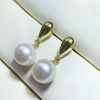 FENASY 18k Gold Earrings Natural Freshwater Pearl Earrings For Women 18K Yellow Gold Au750 Wedding Engagement Jewelry