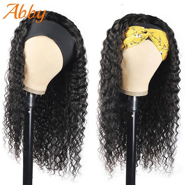 Pelucas de diadema con ondas profundas para mujer, pañuelo de pelo humano peruano, densidad 180%, sin pegamento, cinta para la cabeza, pelucas de cabello humano