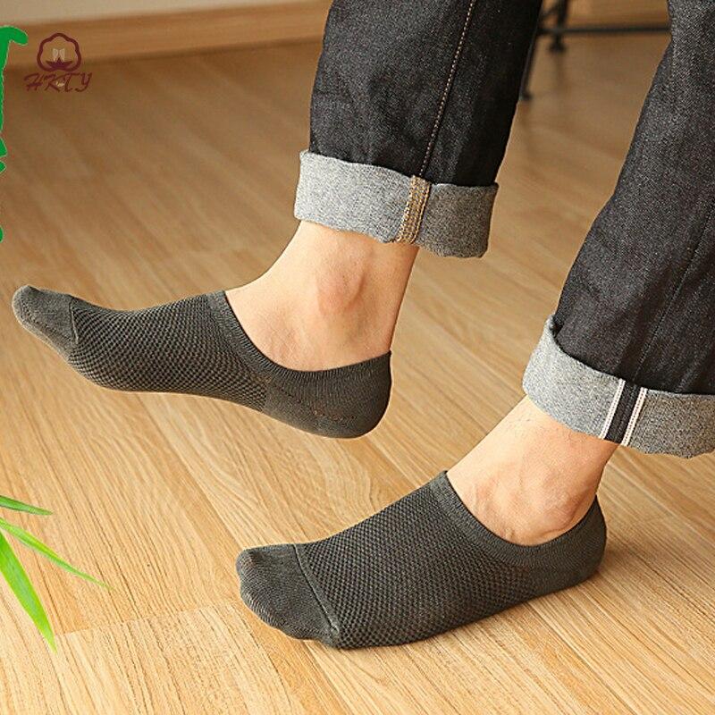 5 пар/лот новые хлопковые невидимые носки для мужчин мужские носки силиконовые противоскользящие, Летние бамбуковые волокна дезодорант и