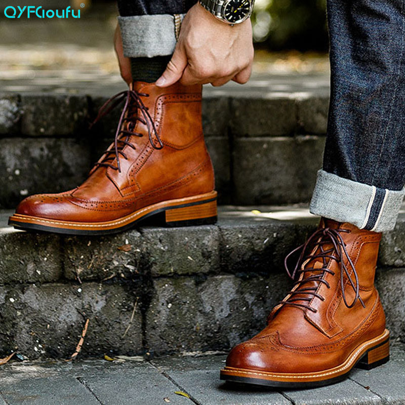 QYFCIOUFU New Men Martins Boots Leather High Quality Vintage Ankle Boots Handmade Lace Up Booties Western Boots Chelsea Boots