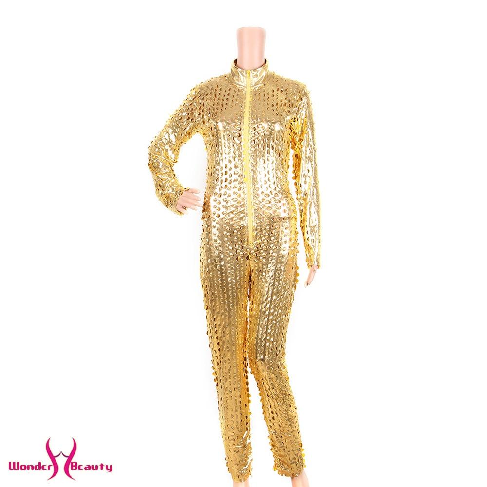 faux leather catsuit catwomen shiny black gold silver metallic leather jumpsuit wetlook pu leotard bodysuit bar night clubwear (13)