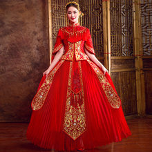 Cheongsam Red Chinese Wedding Classic Tassel Women Vestidos Set Elegant Half Sleeve Tang Costumes Evening Party Pleated Dress(China)