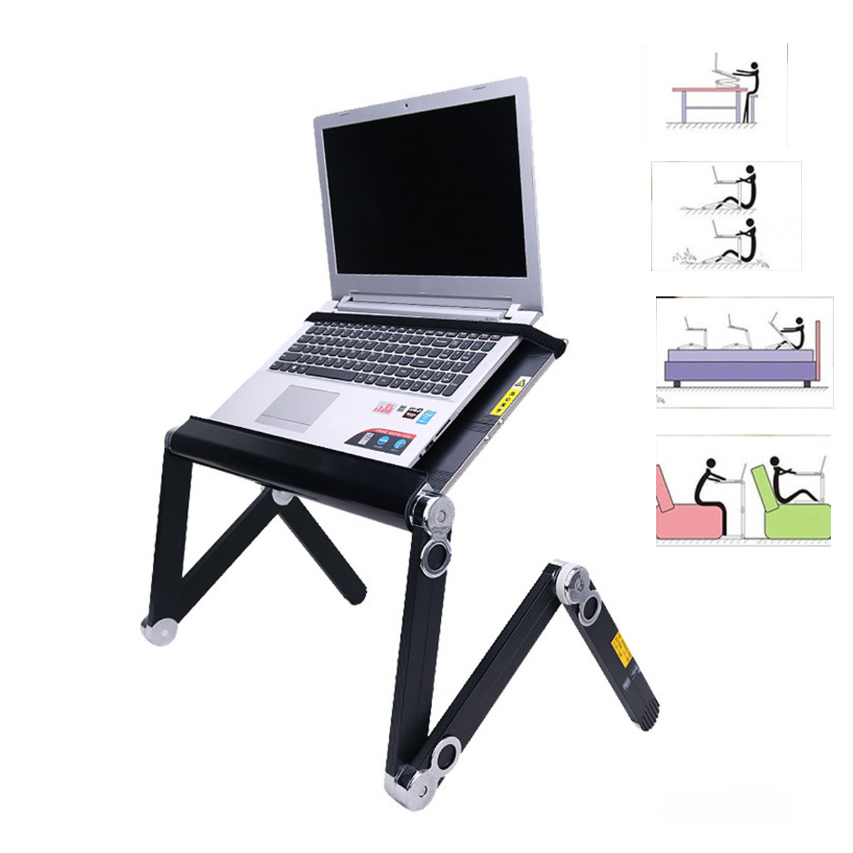 YUNAI 360 Degree Adjustable Notebook Suitable With Cooling Fan Folding Portable Laptop Desk Table Stand Tray For Bed And Sofa