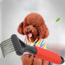 2019 new pet dog brush short long thick hair fur shedding remove cat groom rake brush comb dog puppy grooming brush clean tool Pet Rake Comb Stainless Steel Cat Dog Hair Removal Brush Pets Hair Fur Grooming Deshedding Trimmer Tool Puppy Beauty Metal Combs