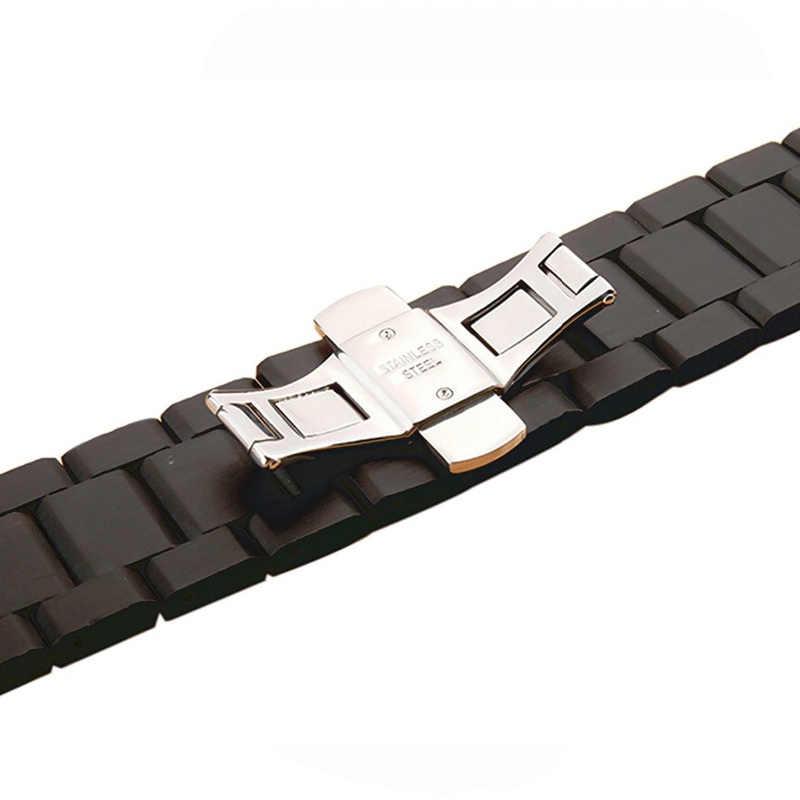 Correa de madera de ébano para Apple Watch band 4 44mm 40mm (iwatch 5) iwatch series 3/2/1 42mm 38mm pulsera de hebilla de mariposa de madera