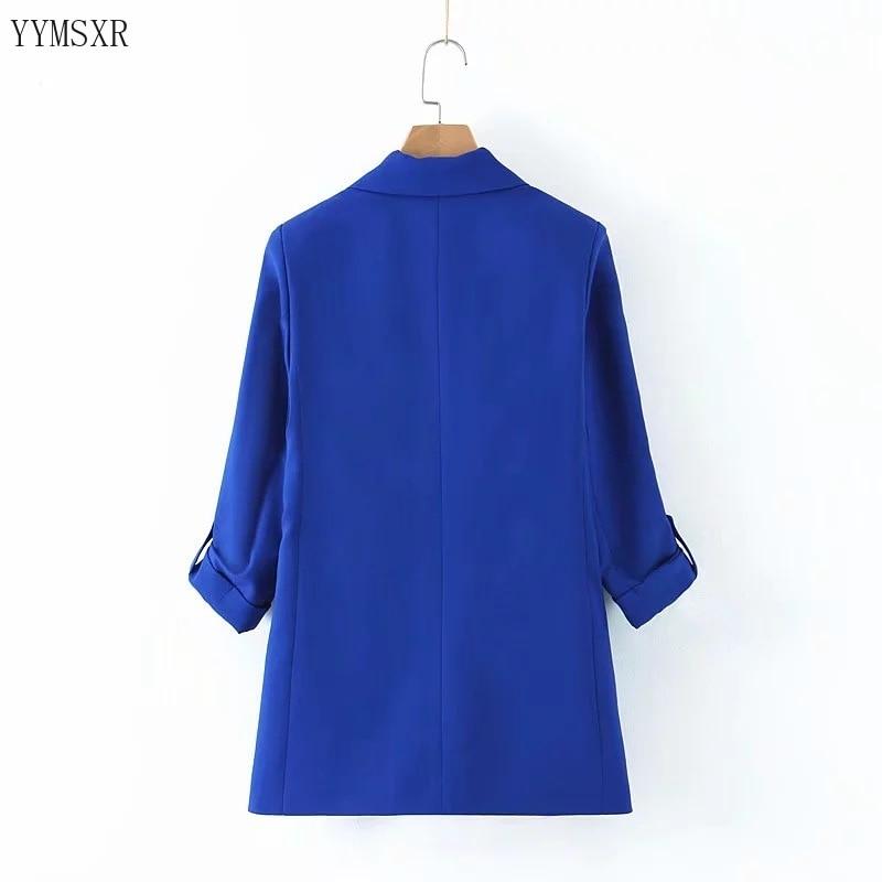 Casual temperament women's jacket feminine 2020 Korean version of the new fashion curled sleeves ladies blue blazer