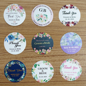96Pcs 3cm/1.2in Round Wedding Sticker Custom Name Logo Waterproof Personalized Label For Party Favors Candy Gift Boxes Packaging logo name plate stickers tape for baby shower wedding name tag gift logo label wedding name and date stickers custom free logo