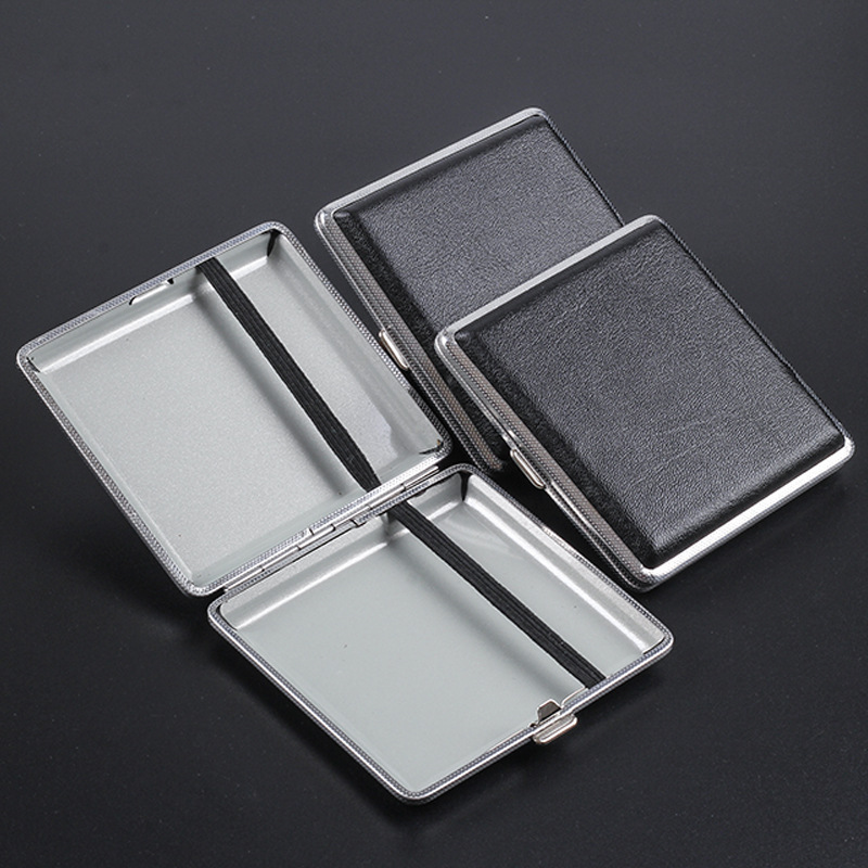 Doppel-open Leder Zigarren Zigarette Fällen für 20 stücke Zigaretten Edelstahl Tabak Zigarette Box Zigarette Werkzeuge