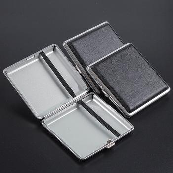 Podwójnie otwarte skórzane cygara papierośnice na 20 sztuk papierosów papierośnica ze stali nierdzewnej papierośnica tanie i dobre opinie CN (pochodzenie) Leather stainless steel LD285 20pcs cigarette